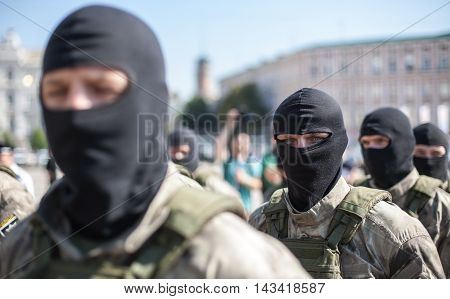Kyiv, Ukraine. Members of Ukrainian Special Police Force Unit gathering on the Sophia Square in Kyiv. On July 4, 2016 Ukraine for the first celebrates the Day of the National Police. The ceremonies were held in the capital on Sophia Square.