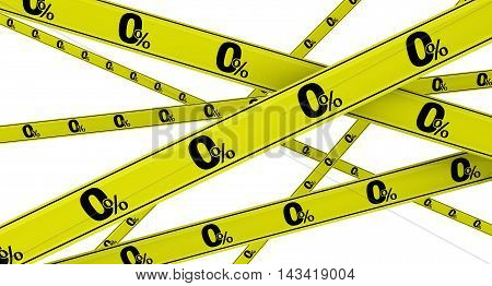 Zero percent. Yellow warning tapes with inscription