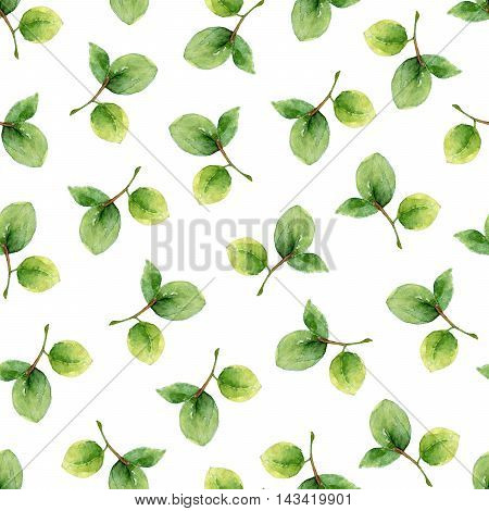 Seamless pattern with leaves of bilberry. Watercolor illustration