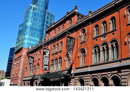 New York City - May 2 2013: The Joseph Papp Public Theatre built in Venetian-Italiante style on Lafayette Street in Lower Manhattan