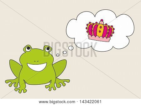 Prince or princess frog dreaming about crown. Vector illustration isolated on white background