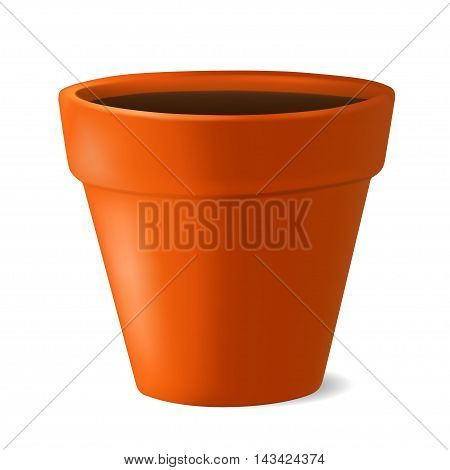 Realistic flowerpot with ground. Vector illustration isolated on white