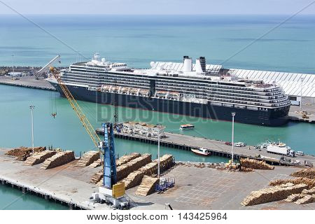 The cruise ship docked in the port of Napier town (New Zealand).