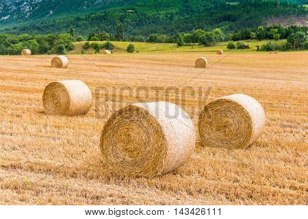 Haystack on the harvested field in the mountain side