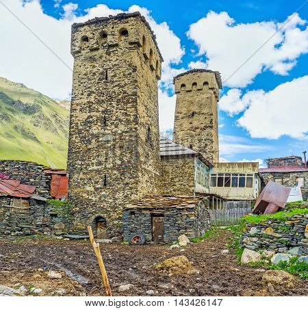The Svan families used their towers for defense as warehouses and treasuries and also to share some information by means of signs and fire Ushguli Georgia.