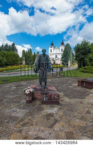 Dukla Poland - July 20 2016: Monument and Shrine of St. John of Dukla in Poland Bernardine monastery fathers