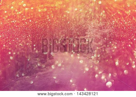Bokeh background with dreamy forest and holiday lights