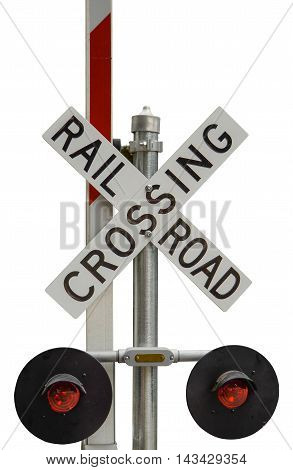 Isolated Rail Road Crossing Sign With Lights On A White Background