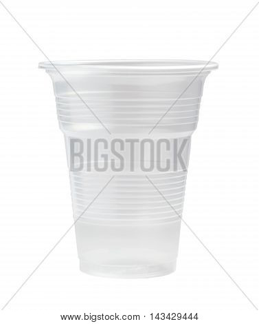 Clear Plastic Cup Isolated On White Background