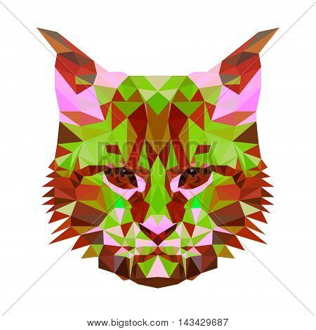 Vector low poly abstract portrait of a motley cat. Symmetrical portraits of animals. Vector Illustration, card, poster. Icon. Animal face. Image of a cat s face. Low-poly colorful style.