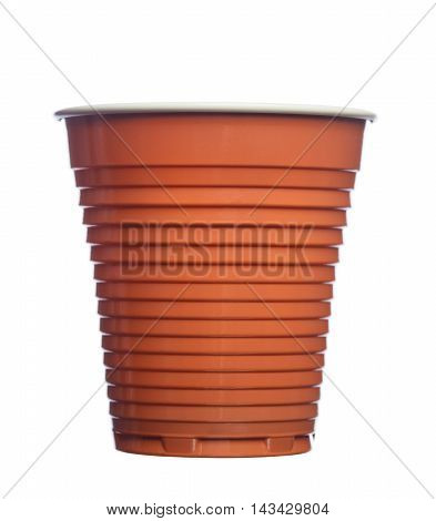 Disposable Plastic Brown Coffee Cup Isolated On White Background
