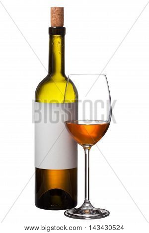 Bottle And Wine Glass Isolated On White Background