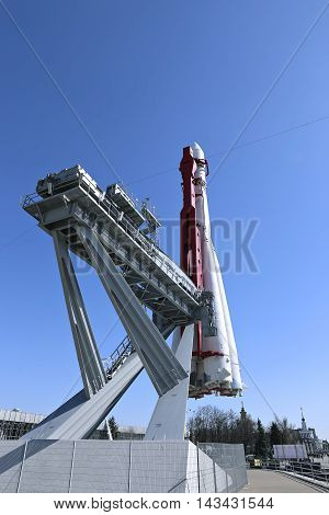 MOSCOW, RUSSIA - APRIL 14, 2015: The rocket Vostok on the launch pad