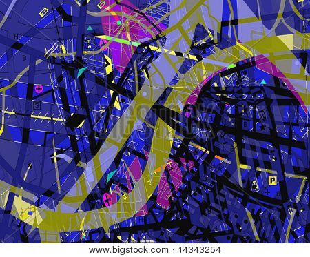 Abstract vector design of a confusing streetmap