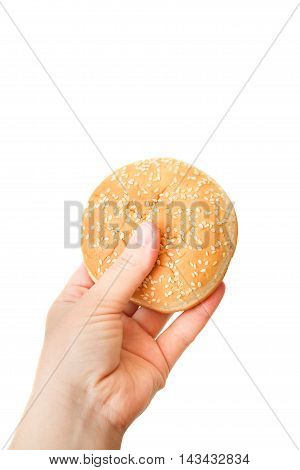 Close-up Image Of A Human's Hand With Tasty Hamburger Over The White Background