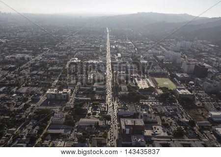 Los Angeles, California, USA - August 6, 2016:  Aerial view of thick summer smog over Sunset Blvd in Hollywood.