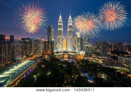 Kuala lumpur skyline with Fireworks celebration Hari Merdeka Day or Malaysia Independence Day in Kuala lumpur Malaysia.