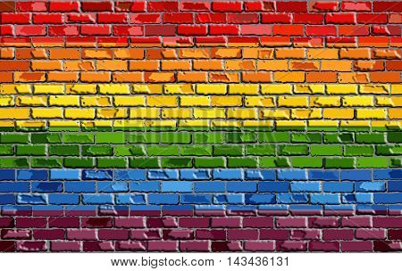 Abstract Gay pride flag on a brick wall with effect,   Rainbow flag on brick textured background,  Flag of gay pride movement painted on brick wall, Gay and transgender comminity in brick style