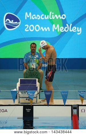RIO DE JANEIRO, BRAZIL - AUGUST 10, 2016: Olympic champion Ryan Lochte of United States before the Men's 200m individual medley relay of the Rio 2016 Olympic Games at the Olympic Aquatics Stadium
