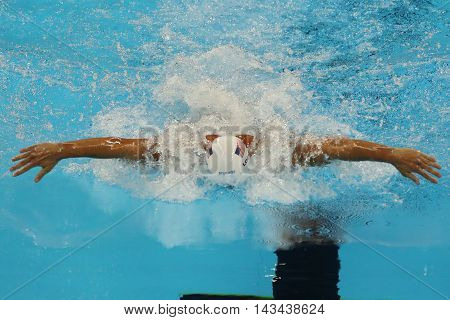 RIO DE JANEIRO, BRAZIL - AUGUST 10, 2016: Olympic champion Ryan Lochte of United States competes at the Men's 200m individual medley relay of the Rio 2016 Olympic Games at the Olympic Aquatics Stadium