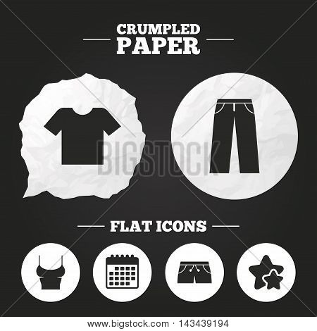 Crumpled paper speech bubble. Clothes icons. T-shirt and pants with shorts signs. Swimming trunks symbol. Paper button. Vector