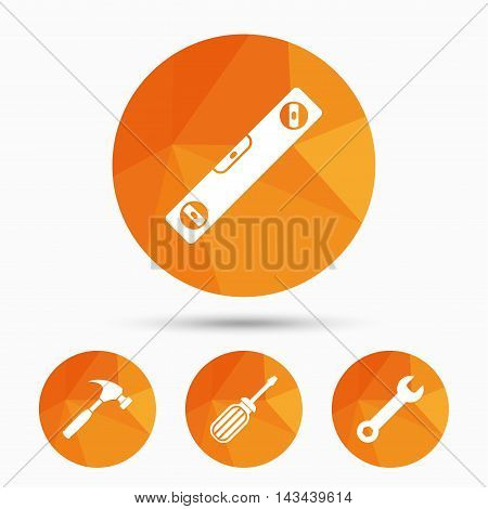Screwdriver and wrench key tool icons. Bubble level and hammer sign symbols. Triangular low poly buttons with shadow. Vector