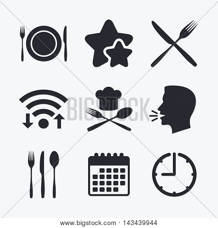 Plate dish with forks and knifes icons. Chief hat sign. Crosswise cutlery symbol. Dining etiquette. Wifi internet, favorite stars, calendar and clock. Talking head. Vector