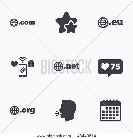 Top-level internet domain icons. Com, Eu, Net and Org symbols with globe. Unique DNS names. Flat talking head, calendar icons. Stars, like counter icons. Vector
