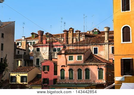 Typical Venice Residential Houses Architecture. Italy. Copy Spac