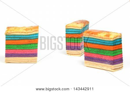Colorful Rainbow Layer cake kuih lapis various flavor