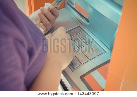 Automated Teller Machine (atm) With Person Have A Banknote In Hand
