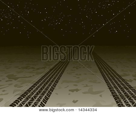 Editable vector illustration of tire tracks disappearing into the night