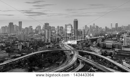 Black and White, Intersection highway with city downtown background