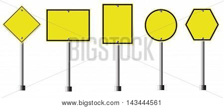 Yellow Roadsigns, Blank Yellow Roadsigns on white background