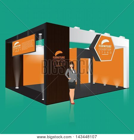 Creative exhibition stand display design with info board. Booth template. Corporate identity. Display Mock-up. Vector Mock up. Unique Trade booth template with beam light effect.