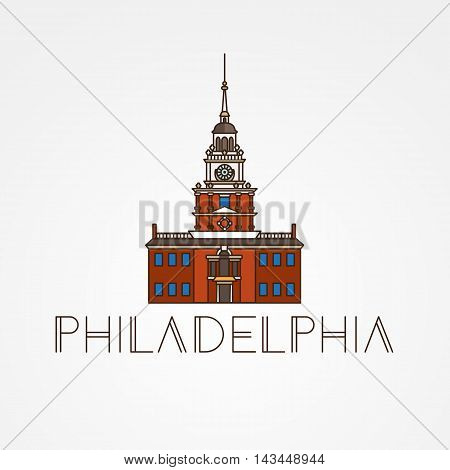 Independence Hall The symbol of Philadelphia, USA. Vector one line minimalist icon
