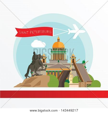 St. Petersburg detailed silhouette. Trendy vector illustration, flat style. Stylish colorful landmarks. Bronze Horseman, Peter and Paul Fortress, Saint Isaac's Cathedral the symbol of Saint Petersburg Russia