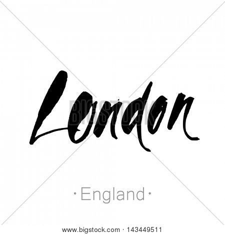 London, England, UK hand-lettering calligraphy. London hand drawn vector stock illustration. Modern brush ink. Isolated on white background.