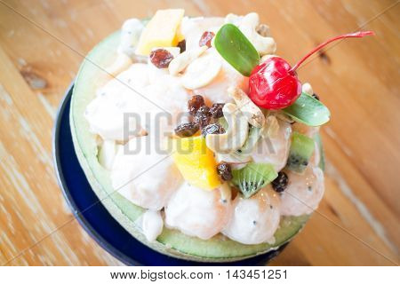 Healthy fruit salad with yoghurt stock photo