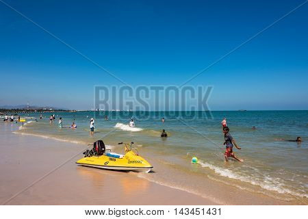 HuaHin Thailand - Dec 26 2015: Beach on Hua Hin city. Hua Hin is popular holiday destination for locals and tourists. Resort town near Bangkok