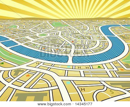 Illustration of a street map landscape