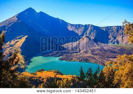 Panorama view of Mountain Rinjani volcano at Lombok island of Indonesia