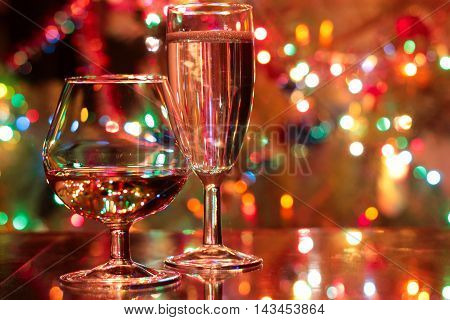 abstract scene with two glass with a drink