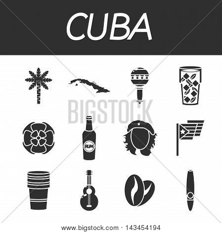 CUBA colored icons. Vector illustration EPS 10