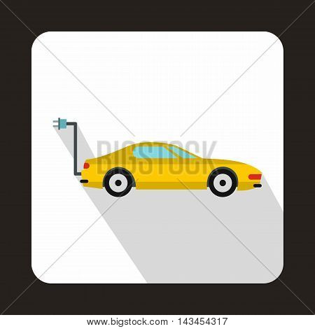Electro car icon in flat style with long shadow. Innovation symbol