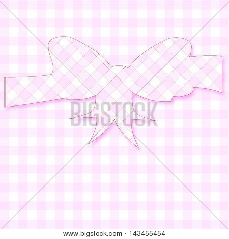 A gingham background with a bow in gingham silhouette
