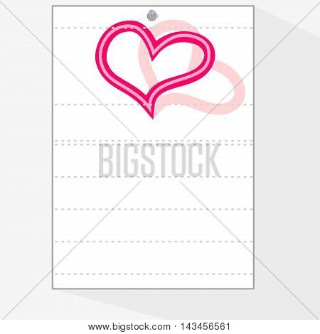 A sheet of paper from a workbook to which something can be attributed, with the emblem of red heart.