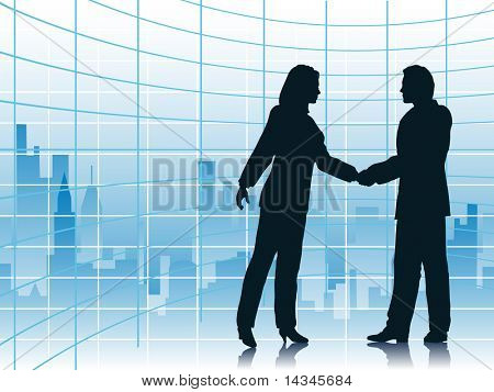 Illustration of business people shaking hands with a city background. Vector file also available.