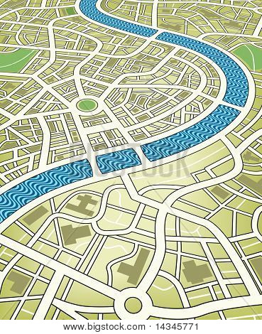 Illustration of a nameless street map from an angled perspective. Editable vector file (.eps) also available.