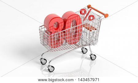 3D rendering of shopping cart trolley with 80 percent sale on white background.Isolate